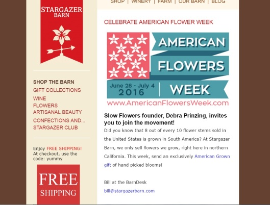 Stargazer Barn encourages its customers to buy American Grown for AFW2016!