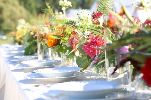"Syndicate's ""gather"" vases held all local flowers designed by Melissa Feveyear of Terra Bella Flowers at the Field to Vase Dinner last September held on Jello Mold Farm in Mt. Vernon, Washington"