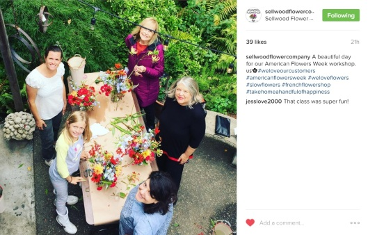 LauraLee Symes of Sellwood Flower Co. in Portland posted this Instagram moment of her American Flowers Week workshop