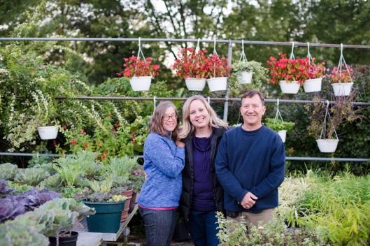 From left: Carol Carrier, Kelly Shore and Leon Carrier. The perfect collaboration between florist and flower farmers. (c) Kirsten Smith Photography