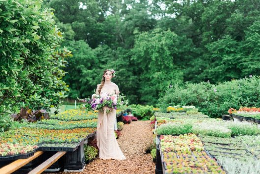 A young bride gathers and arranges her garden-inspired wedding flowers from Plant Masters' fields and greenhouses.
