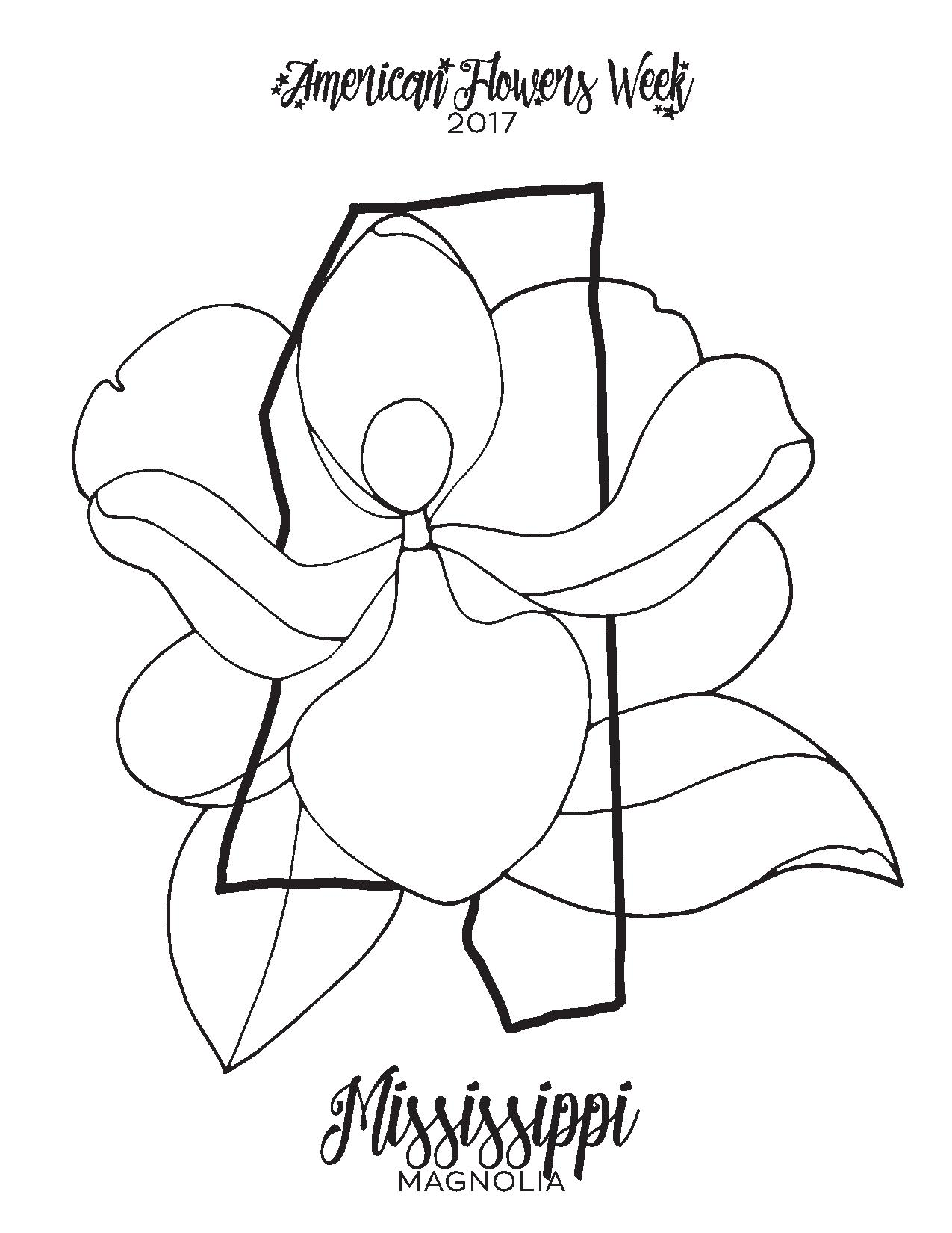 Mississippi State Flower Coloring Page Coloring Pages